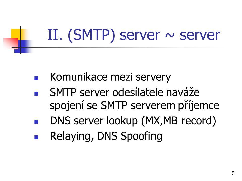 9 II. (SMTP) server ~ server Komunikace mezi servery SMTP server odesílatele naváže spojení se SMTP serverem příjemce DNS server lookup (MX,MB record)