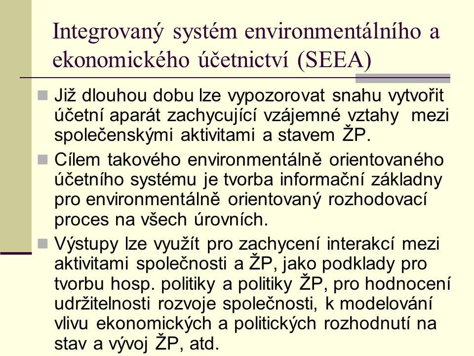 Integrovaný systém environmentálního a ekonomického účetnictví (SEEA) Již dlouhou dobu lze vypozorovat snahu vytvořit účetní aparát zachycující vzájem