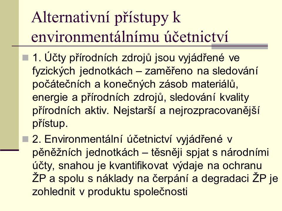Alternativní přístupy k environmentálnímu účetnictví 1. Účty přírodních zdrojů jsou vyjádřené ve fyzických jednotkách – zaměřeno na sledování počátečn