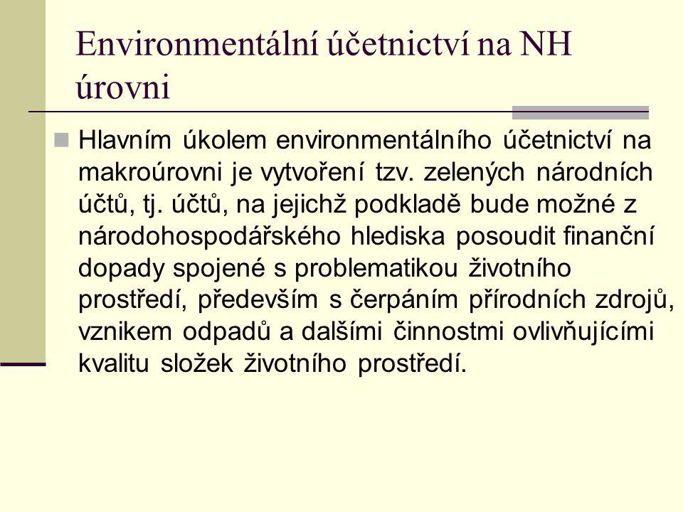 Environmentální účetnictví na NH úrovni Hlavním úkolem environmentálního účetnictví na makroúrovni je vytvoření tzv. zelených národních účtů, tj. účtů