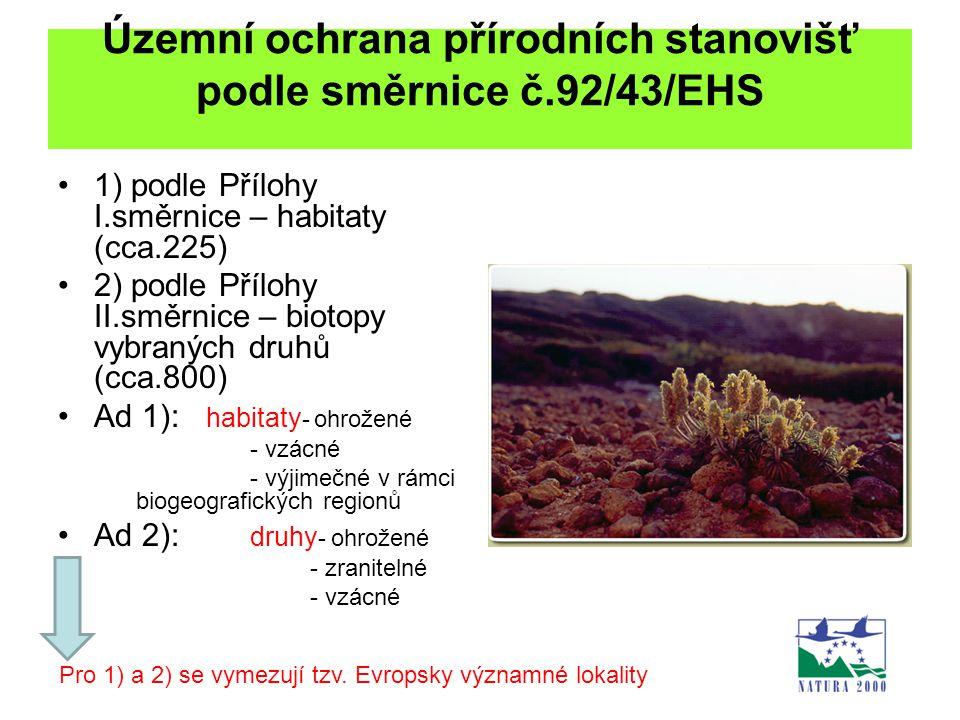 Územní ochrana přírodních stanovišť podle směrnice č.92/43/EHS 1) podle Přílohy I.směrnice – habitaty (cca.225) 2) podle Přílohy II.směrnice – biotopy
