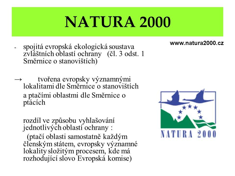 NATURA 2000 = spojitá evropská ekologická soustava zvláštních oblastí ochrany (čl. 3 odst. 1 Směrnice o stanovištích) → tvořena evropsky významnými lo