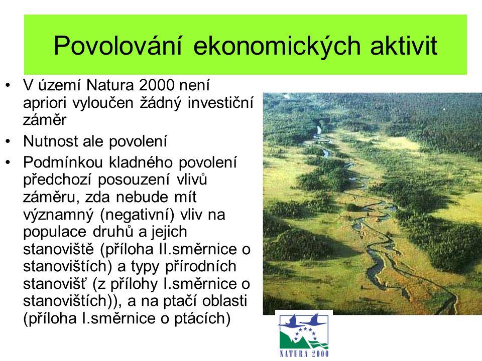 Povolování ekonomických aktivit V území Natura 2000 není apriori vyloučen žádný investiční záměr Nutnost ale povolení Podmínkou kladného povolení před