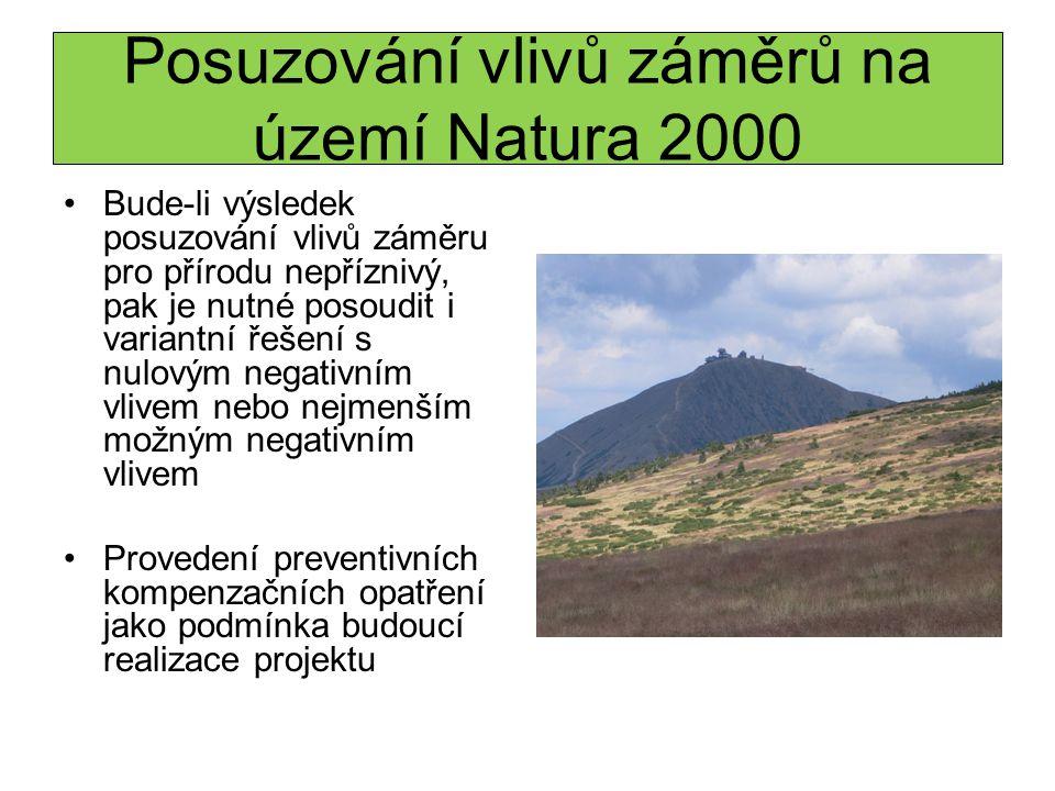 Posuzování vlivů záměrů na území Natura 2000 Bude-li výsledek posuzování vlivů záměru pro přírodu nepříznivý, pak je nutné posoudit i variantní řešení