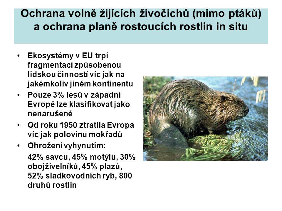 Ochrana volně žijících živočichů (mimo ptáků) a ochrana planě rostoucích rostlin in situ Ekosystémy v EU trpí fragmentací způsobenou lidskou činností