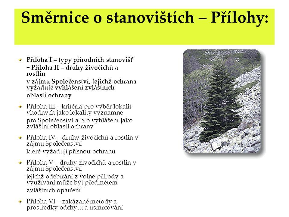 Směrnice o stanovištích – Přílohy: Příloha I – typy přírodních stanovišť + Příloha II – druhy živočichů a rostlin v zájmu Společenství, jejichž ochran