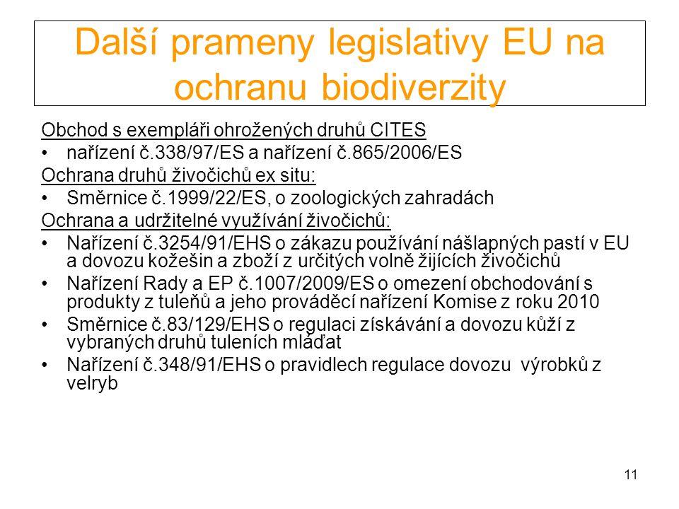 11 Další prameny legislativy EU na ochranu biodiverzity Obchod s exempláři ohrožených druhů CITES nařízení č.338/97/ES a nařízení č.865/2006/ES Ochran