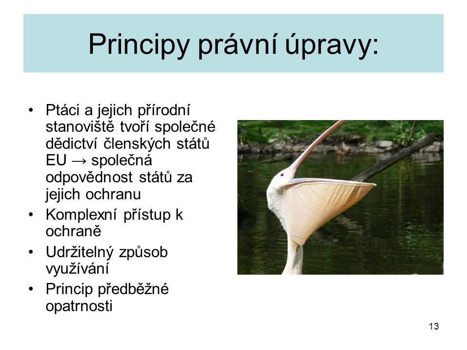 13 Principy právní úpravy: Ptáci a jejich přírodní stanoviště tvoří společné dědictví členských států EU → společná odpovědnost států za jejich ochran