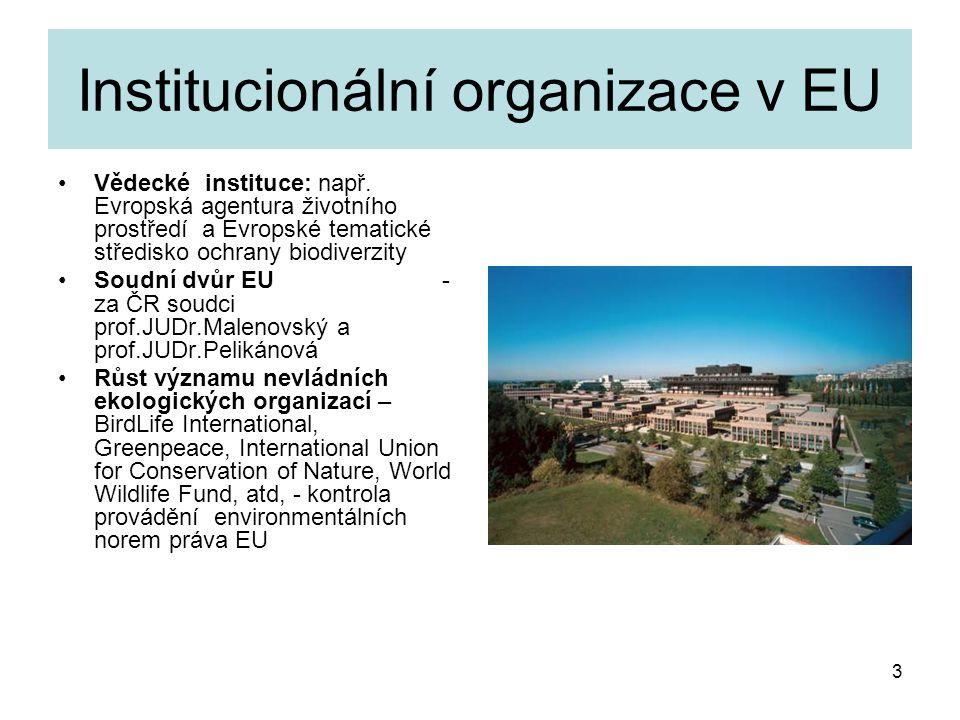 3 Institucionální organizace v EU Vědecké instituce: např. Evropská agentura životního prostředí a Evropské tematické středisko ochrany biodiverzity S