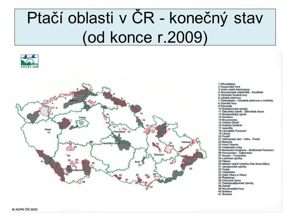32 Ptačí oblasti v ČR - konečný stav (od konce r.2009)