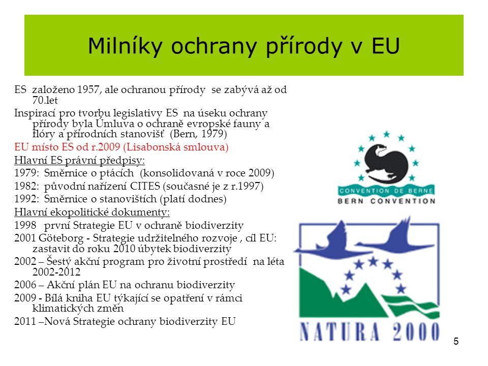 5 Milníky ochrany přírody v EU ES založeno 1957, ale ochranou přírody se zabývá až od 70.let Inspirací pro tvorbu legislativy ES na úseku ochrany přír