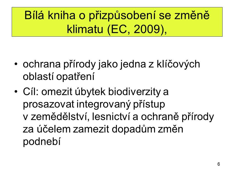 6 Bílá kniha o přizpůsobení se změně klimatu (EC, 2009), ochrana přírody jako jedna z klíčových oblastí opatření Cíl: omezit úbytek biodiverzity a pro