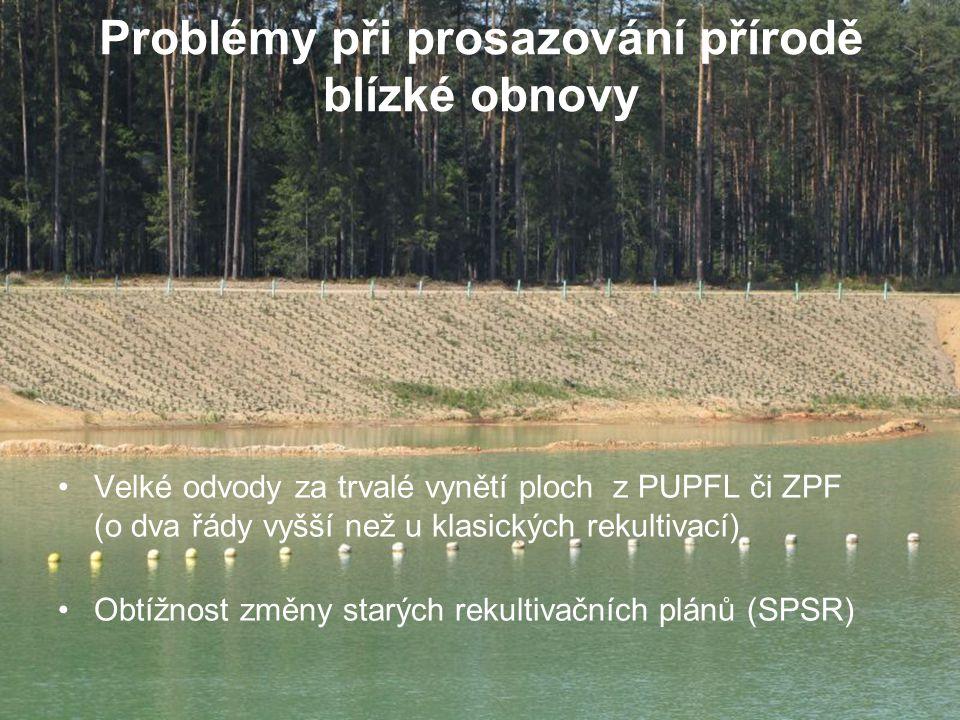 Problémy při prosazování přírodě blízké obnovy Velké odvody za trvalé vynětí ploch z PUPFL či ZPF (o dva řády vyšší než u klasických rekultivací) Obtížnost změny starých rekultivačních plánů (SPSR)