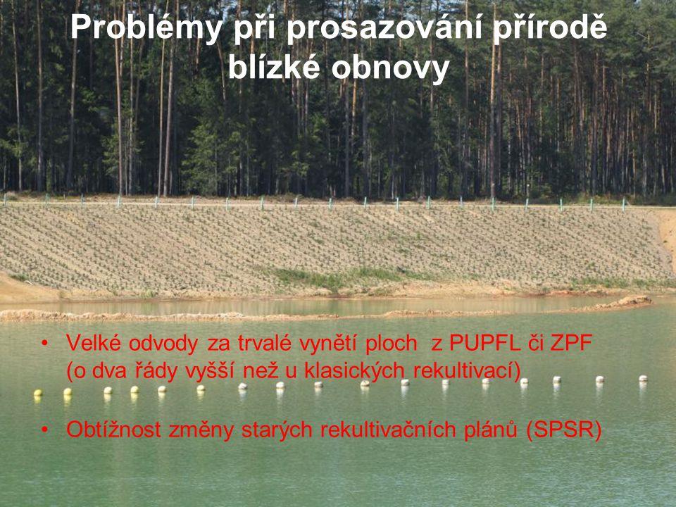 Problémy při prosazování přírodě blízké obnovy Velké odvody za trvalé vynětí ploch z PUPFL či ZPF (o dva řády vyšší než u klasických rekultivací) Obtí