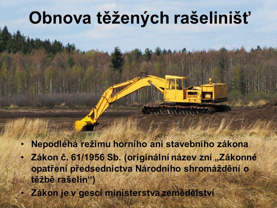 Obnova těžených rašelinišť Nepodléhá režimu horního ani stavebního zákona Zákon č.