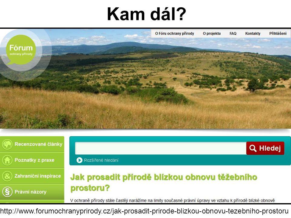 Kam dál? http://www.forumochranyprirody.cz/jak-prosadit-prirode-blizkou-obnovu-tezebniho-prostoru