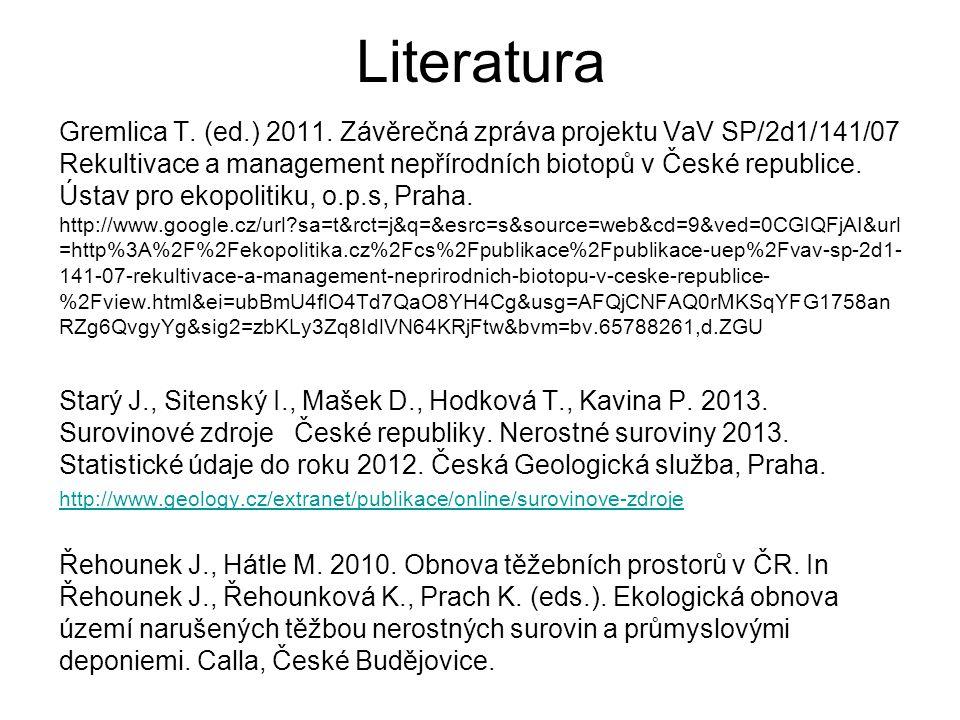 Literatura Gremlica T. (ed.) 2011. Závěrečná zpráva projektu VaV SP/2d1/141/07 Rekultivace a management nepřírodních biotopů v České republice. Ústav