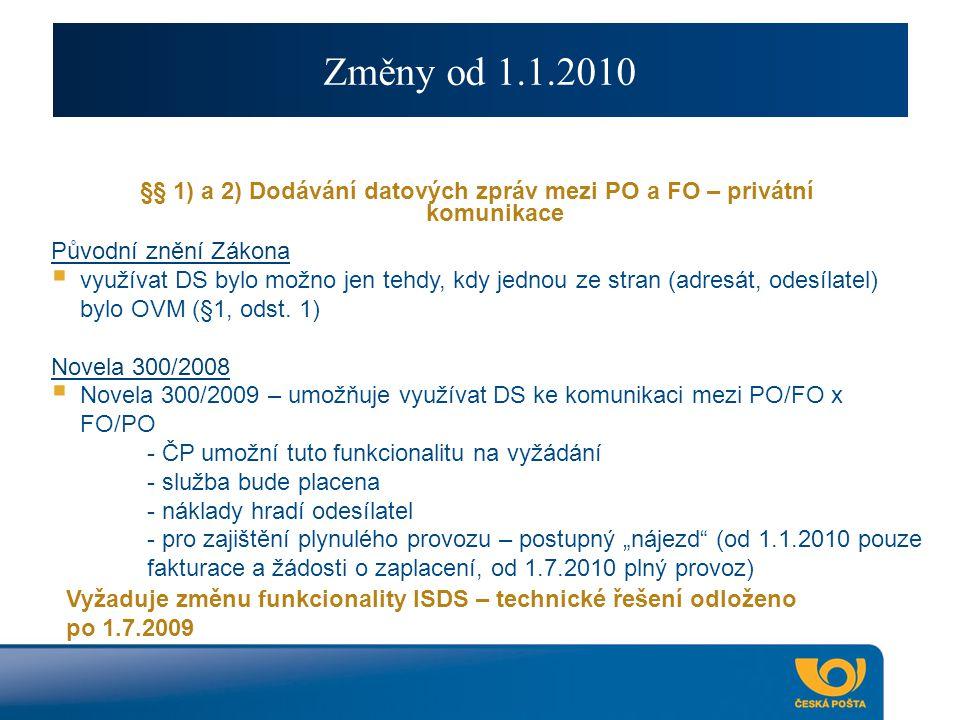 Změny od 1.1.2010 §§ 1) a 2) Dodávání datových zpráv mezi PO a FO – privátní komunikace Původní znění Zákona  využívat DS bylo možno jen tehdy, kdy jednou ze stran (adresát, odesílatel) bylo OVM (§1, odst.