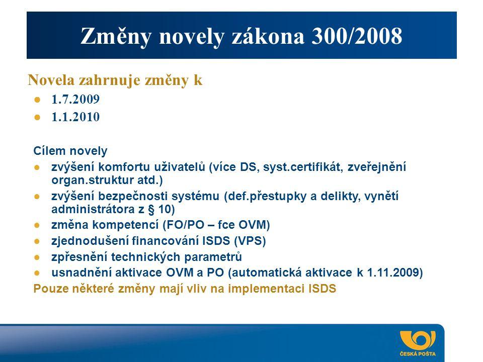 Změny novely zákona 300/2008 Novela zahrnuje změny k ● 1.7.2009 ● 1.1.2010 Cílem novely ●zvýšení komfortu uživatelů (více DS, syst.certifikát, zveřejnění organ.struktur atd.) ●zvýšení bezpečnosti systému (def.přestupky a delikty, vynětí administrátora z § 10) ●změna kompetencí (FO/PO – fce OVM) ●zjednodušení financování ISDS (VPS) ●zpřesnění technických parametrů ●usnadnění aktivace OVM a PO (automatická aktivace k 1.11.2009) Pouze některé změny mají vliv na implementaci ISDS
