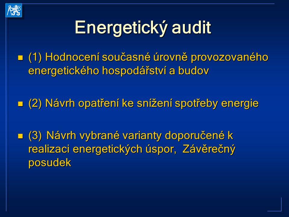 Energetický audit (1) Hodnocení současné úrovně provozovaného energetického hospodářství a budov (1) Hodnocení současné úrovně provozovaného energetic
