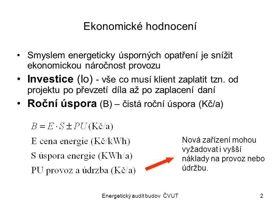 Energetický audit budov ČVUT2 Ekonomické hodnocení Smyslem energeticky úsporných opatření je snížit ekonomickou náročnost provozu Investice (Io) - vše