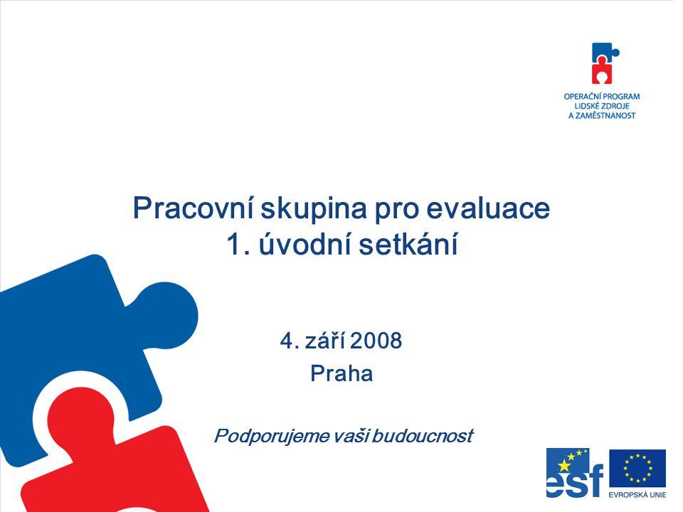 Pracovní skupina pro evaluace 1. úvodní setkání 4. září 2008 Praha Podporujeme vaši budoucnost
