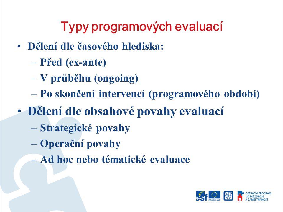 Typy programových evaluací Dělení dle časového hlediska: –Před (ex-ante) –V průběhu (ongoing) –Po skončení intervencí (programového období) Dělení dle obsahové povahy evaluací –Strategické povahy –Operační povahy –Ad hoc nebo tématické evaluace