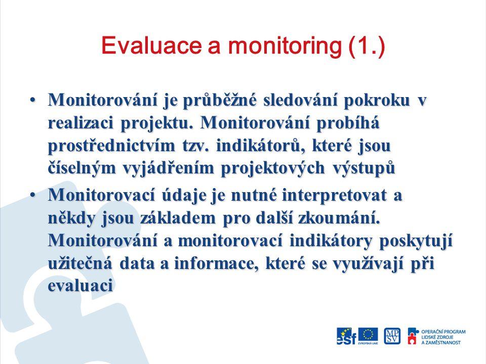 Evaluace a monitoring (1.) Monitorování je průběžné sledování pokroku v realizaci projektu.