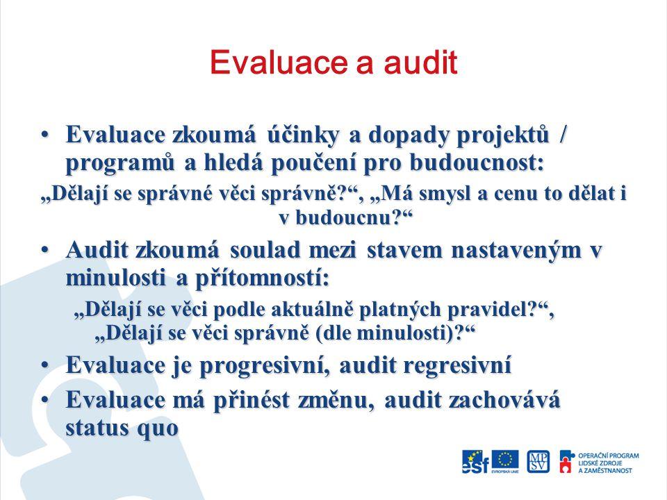 """Evaluace a audit Evaluace zkoumá účinky a dopady projektů / programů a hledá poučení pro budoucnost:Evaluace zkoumá účinky a dopady projektů / programů a hledá poučení pro budoucnost: """"Dělají se správné věci správně? , """"Má smysl a cenu to dělat i v budoucnu? Audit zkoumá soulad mezi stavem nastaveným v minulosti a přítomností:Audit zkoumá soulad mezi stavem nastaveným v minulosti a přítomností: """"Dělají se věci podle aktuálně platných pravidel? , """"Dělají se věci správně (dle minulosti)? Evaluace je progresivní, audit regresivníEvaluace je progresivní, audit regresivní Evaluace má přinést změnu, audit zachovává status quoEvaluace má přinést změnu, audit zachovává status quo"""