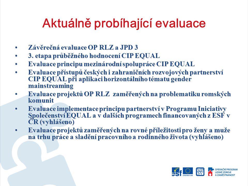 Aktuálně probíhající evaluace Závěrečná evaluace OP RLZ a JPD 3Závěrečná evaluace OP RLZ a JPD 3 3.