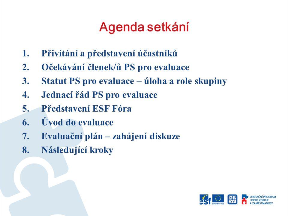 Agenda setkání 1.Přivítání a představení účastníků 2.Očekávání členek/ů PS pro evaluace 3.Statut PS pro evaluace – úloha a role skupiny 4.Jednací řád PS pro evaluace 5.Představení ESF Fóra 6.Úvod do evaluace 7.Evaluační plán – zahájení diskuze 8.Následující kroky