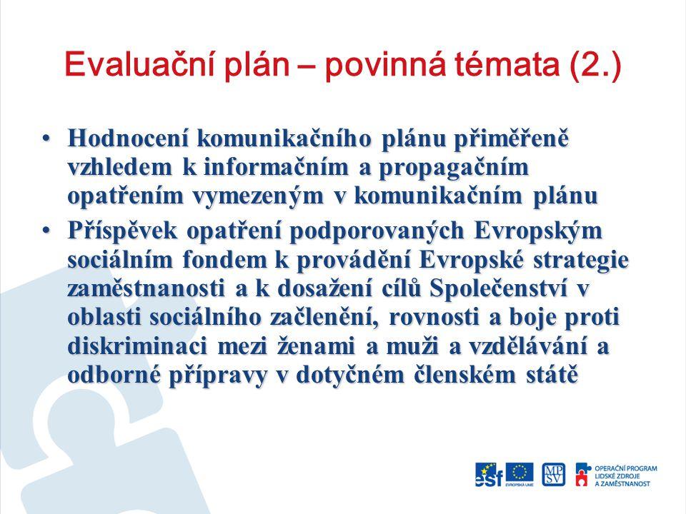 Evaluační plán – povinná témata (2.) Hodnocení komunikačního plánu přiměřeně vzhledem k informačním a propagačním opatřením vymezeným v komunikačním plánuHodnocení komunikačního plánu přiměřeně vzhledem k informačním a propagačním opatřením vymezeným v komunikačním plánu Příspěvek opatření podporovaných Evropským sociálním fondem k provádění Evropské strategie zaměstnanosti a k dosažení cílů Společenství v oblasti sociálního začlenění, rovnosti a boje proti diskriminaci mezi ženami a muži a vzdělávání a odborné přípravy v dotyčném členském státěPříspěvek opatření podporovaných Evropským sociálním fondem k provádění Evropské strategie zaměstnanosti a k dosažení cílů Společenství v oblasti sociálního začlenění, rovnosti a boje proti diskriminaci mezi ženami a muži a vzdělávání a odborné přípravy v dotyčném členském státě