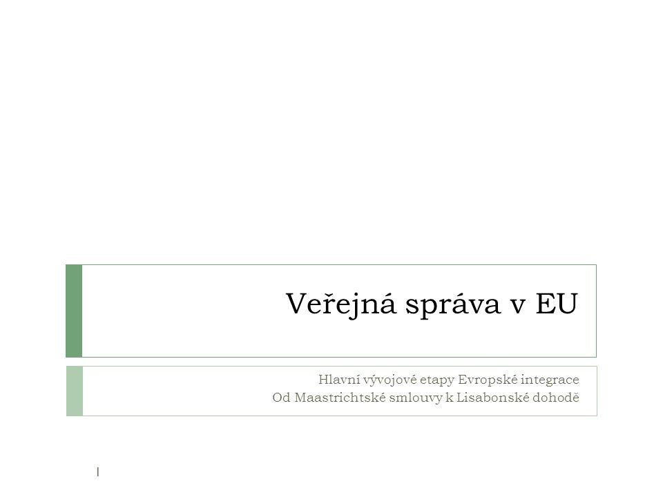"""2000: Lisabonská strategie 42 Cíl: """"Učinit z EU nejkonkurenčnější a nejdynamičtější znalostní ekonomiku na světě, schopnou trvale udržitelného ekonomického růstu, s více a lepšími pracovními příležitostmi a větší sociální soudržností v roce 2010 pomocí…  …přípravy přechodu ke znalostní ekonomice a společnosti (informační a komunikační technologie, výzkum a vývoj, vzdělávání, inovační procesy)  … modernizace Evropského sociálního modelu, investic do lidských zdrojů a potírání sociálního vylučování  … uplatňování vhodných makroekonomických nástrojů."""