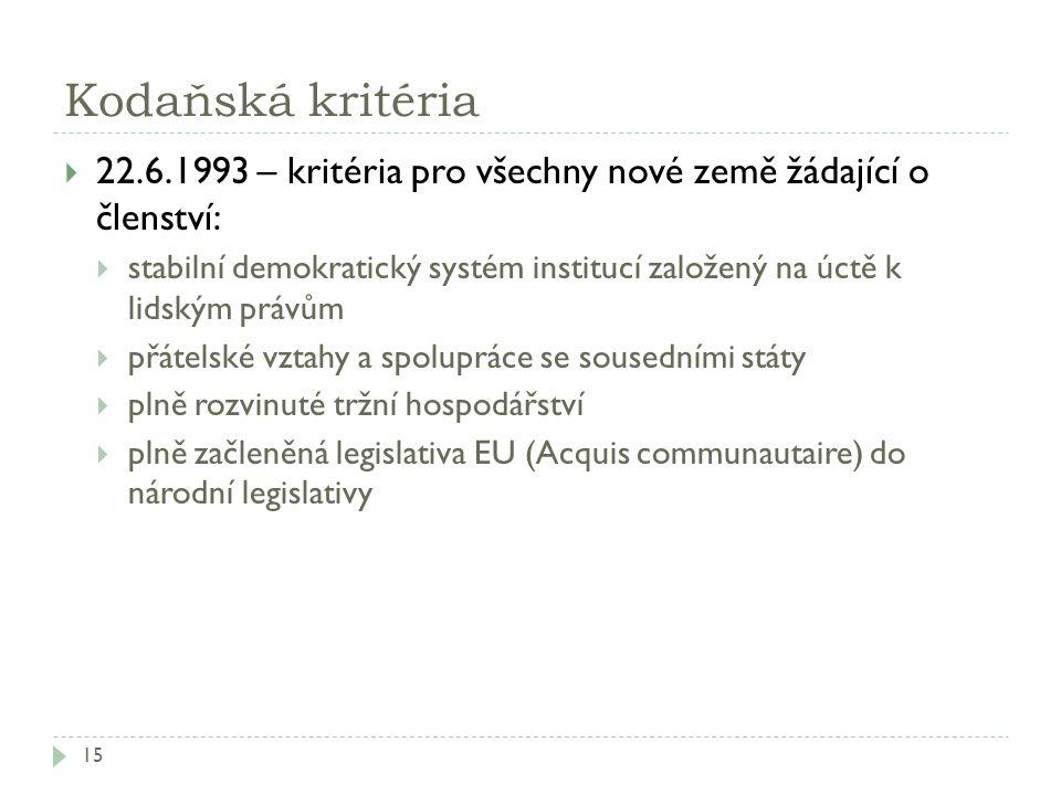 Kodaňská kritéria 15  22.6.1993 – kritéria pro všechny nové země žádající o členství:  stabilní demokratický systém institucí založený na úctě k lid