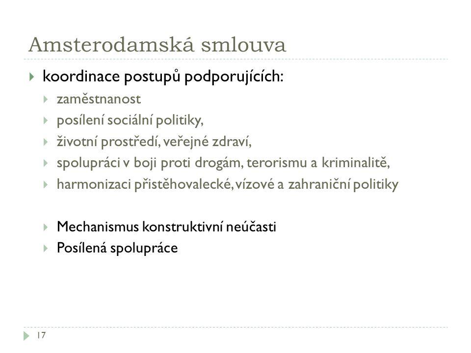 Amsterodamská smlouva 17  koordinace postupů podporujících:  zaměstnanost  posílení sociální politiky,  životní prostředí, veřejné zdraví,  spolu