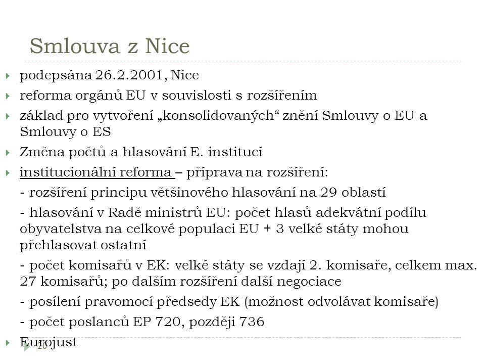 """Smlouva z Nice 20  podepsána 26.2.2001, Nice  reforma orgánů EU v souvislosti s rozšířením  základ pro vytvoření """"konsolidovaných"""" znění Smlouvy o"""
