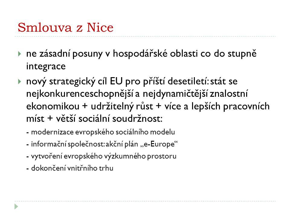 Smlouva z Nice  ne zásadní posuny v hospodářské oblasti co do stupně integrace  nový strategický cíl EU pro příští desetiletí: stát se nejkonkurence
