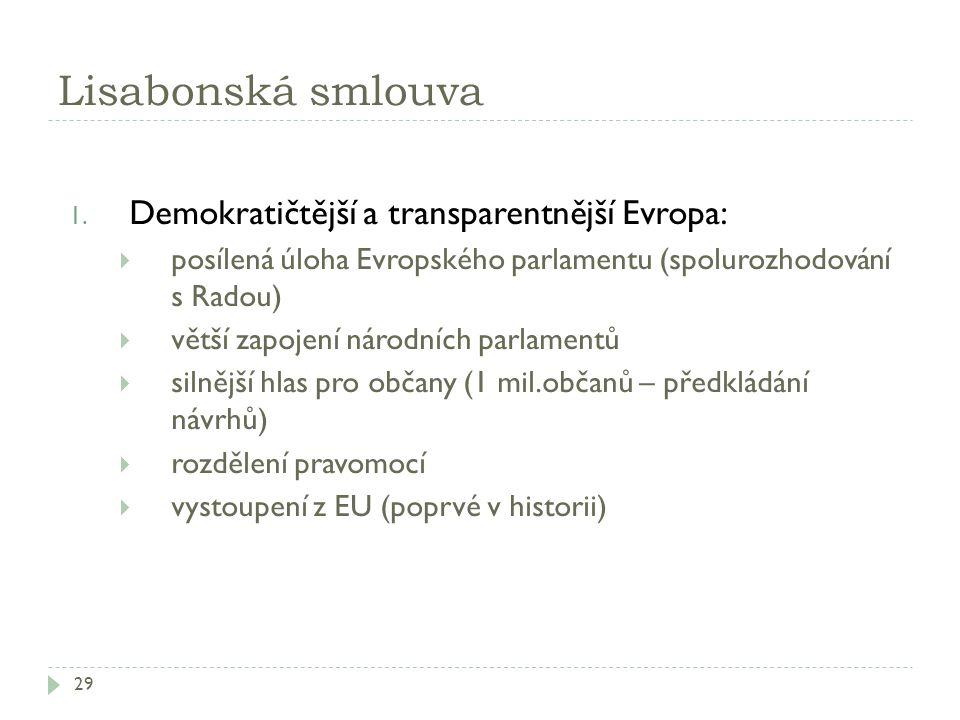 Lisabonská smlouva 29 1. Demokratičtější a transparentnější Evropa:  posílená úloha Evropského parlamentu (spolurozhodování s Radou)  větší zapojení