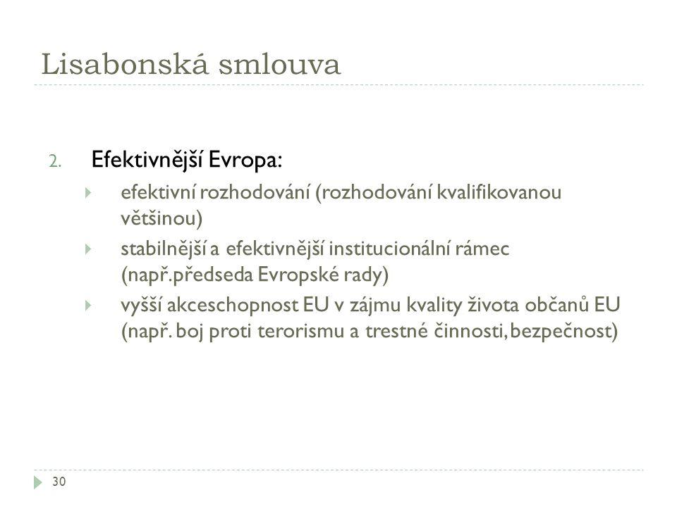Lisabonská smlouva 30 2. Efektivnější Evropa:  efektivní rozhodování (rozhodování kvalifikovanou většinou)  stabilnější a efektivnější institucionál