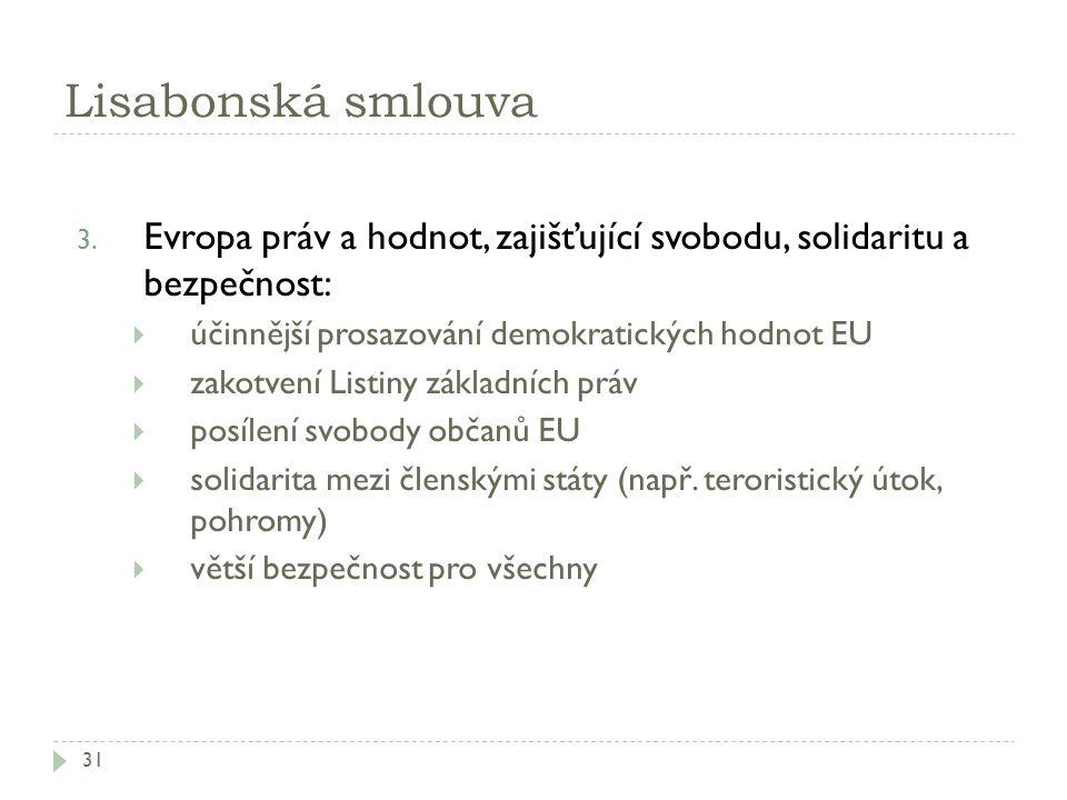 Lisabonská smlouva 31 3. Evropa práv a hodnot, zajišťující svobodu, solidaritu a bezpečnost:  účinnější prosazování demokratických hodnot EU  zakotv