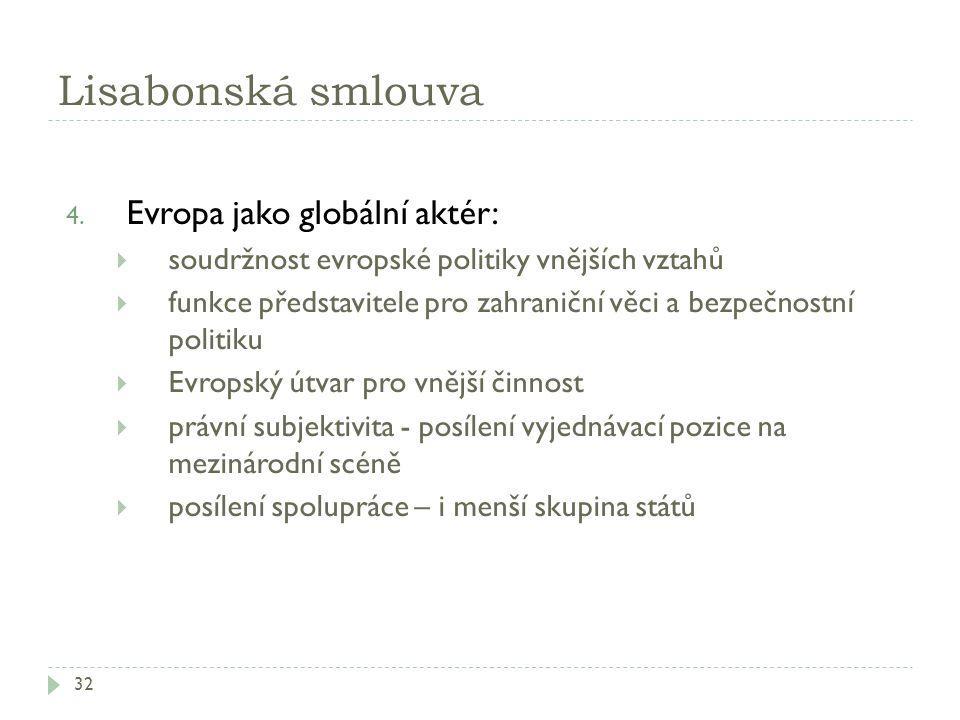 Lisabonská smlouva 32 4. Evropa jako globální aktér:  soudržnost evropské politiky vnějších vztahů  funkce představitele pro zahraniční věci a bezpe