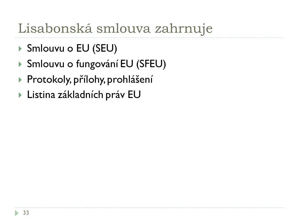 Lisabonská smlouva zahrnuje 33  Smlouvu o EU (SEU)  Smlouvu o fungování EU (SFEU)  Protokoly, přílohy, prohlášení  Listina základních práv EU
