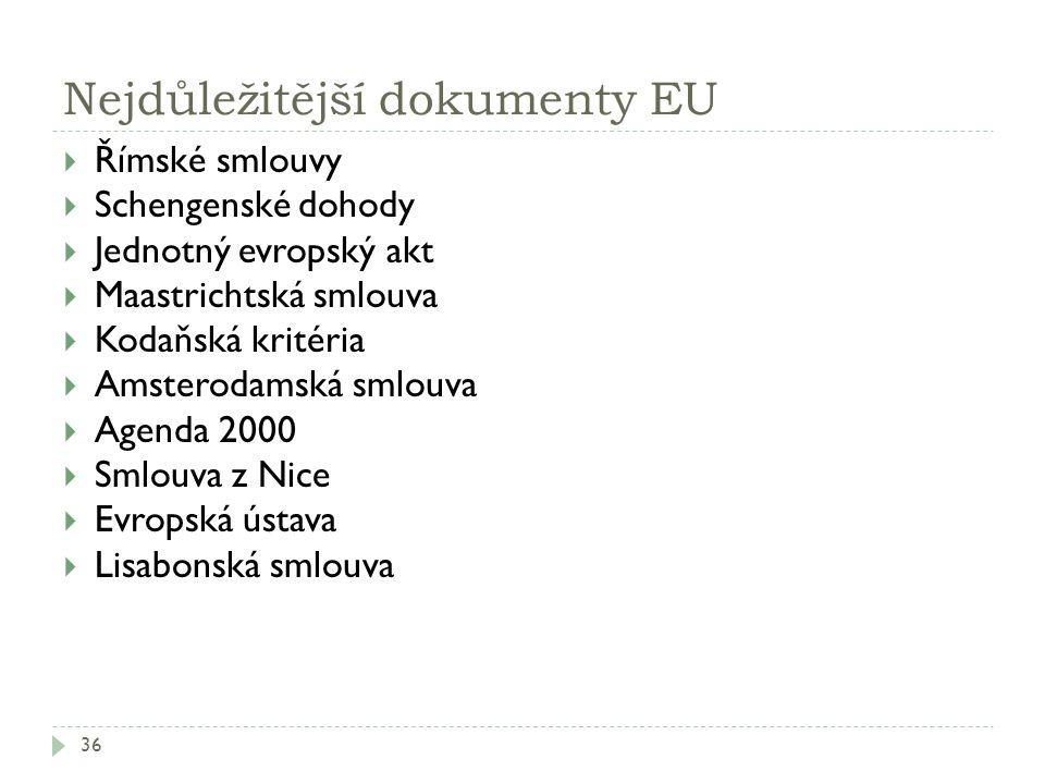 Nejdůležitější dokumenty EU 36  Římské smlouvy  Schengenské dohody  Jednotný evropský akt  Maastrichtská smlouva  Kodaňská kritéria  Amsterodams