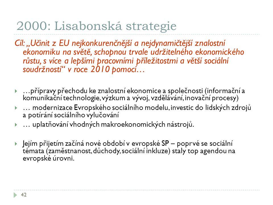 """2000: Lisabonská strategie 42 Cíl: """"Učinit z EU nejkonkurenčnější a nejdynamičtější znalostní ekonomiku na světě, schopnou trvale udržitelného ekonomi"""