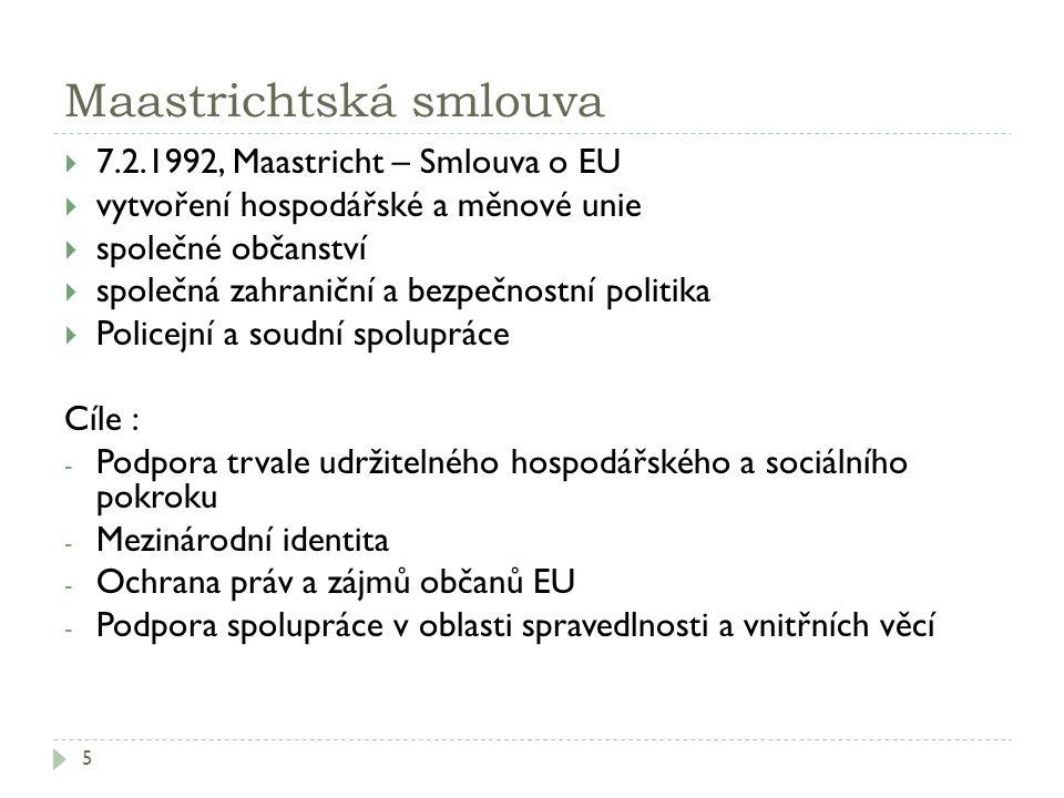 Maastrichtská smlouva 5  7.2.1992, Maastricht – Smlouva o EU  vytvoření hospodářské a měnové unie  společné občanství  společná zahraniční a bezpe