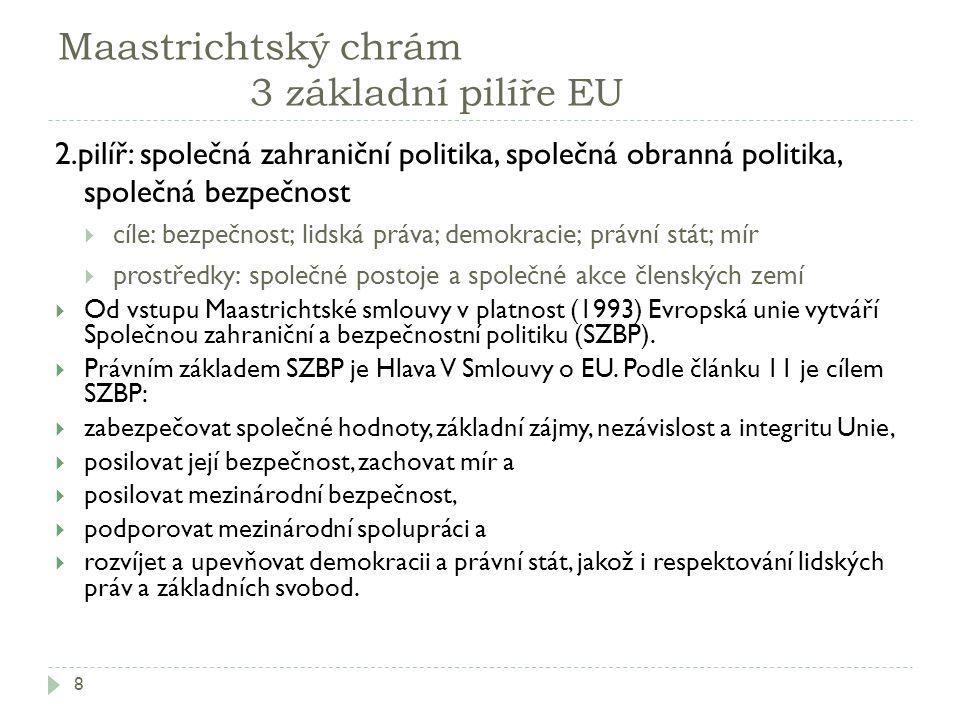 Maastrichtský chrám 3 základní pilíře EU 8 2.pilíř: společná zahraniční politika, společná obranná politika, společná bezpečnost  cíle: bezpečnost; l