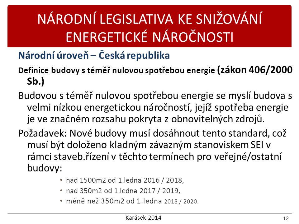 Karásek 2014 NÁRODNÍ LEGISLATIVA KE SNIŽOVÁNÍ ENERGETICKÉ NÁROČNOSTI Národní úroveň – Česká republika Definice budovy s téměř nulovou spotřebou energi