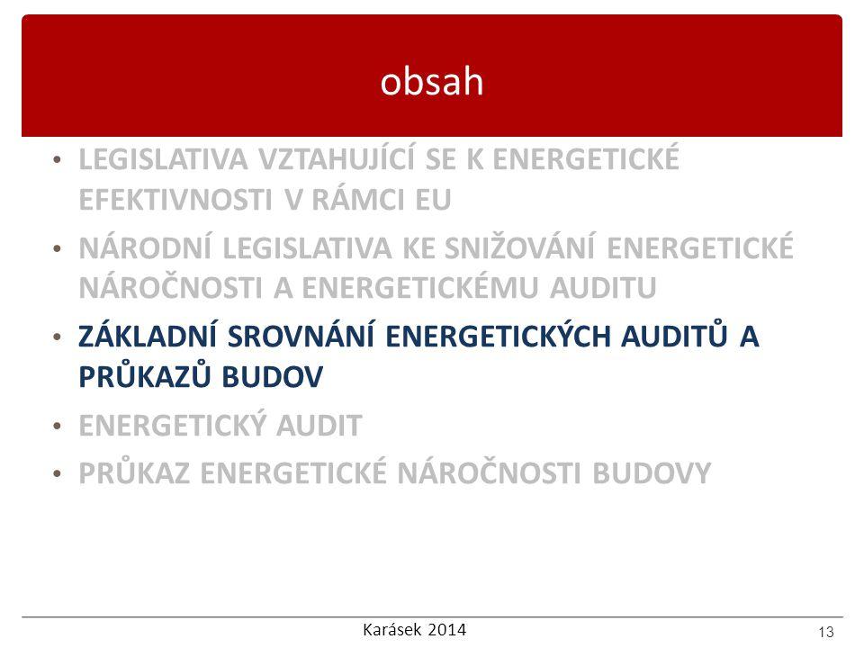 Karásek 2014 obsah LEGISLATIVA VZTAHUJÍCÍ SE K ENERGETICKÉ EFEKTIVNOSTI V RÁMCI EU NÁRODNÍ LEGISLATIVA KE SNIŽOVÁNÍ ENERGETICKÉ NÁROČNOSTI A ENERGETIC