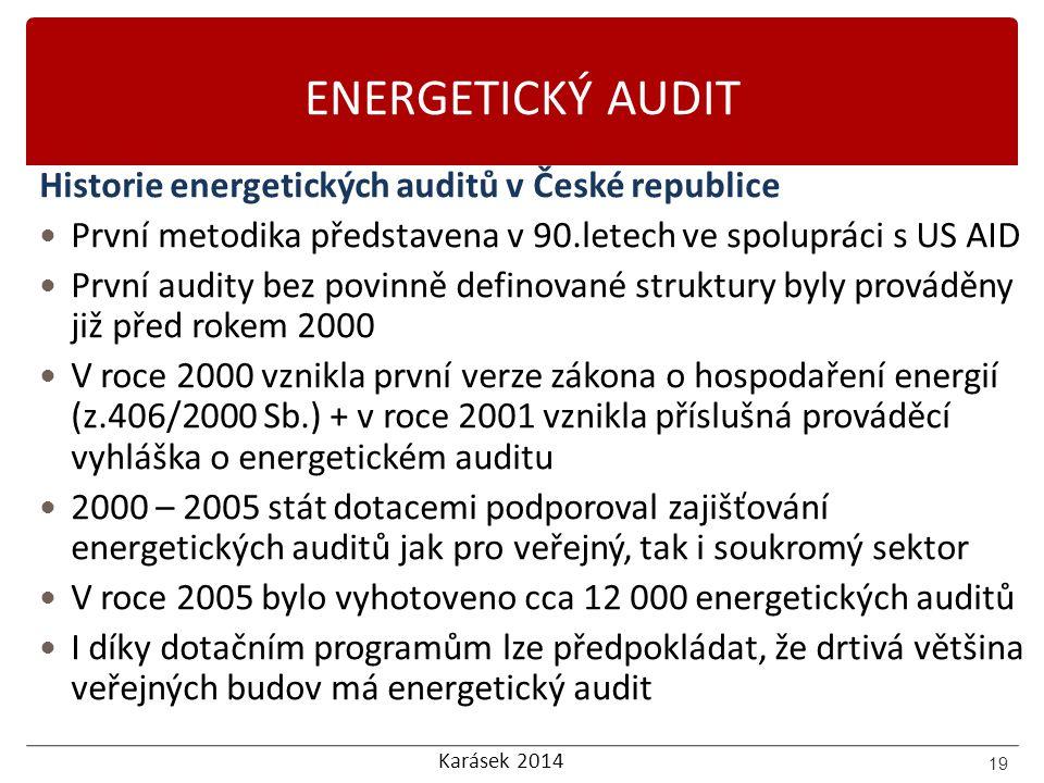 Karásek 2014 ENERGETICKÝ AUDIT Historie energetických auditů v České republice První metodika představena v 90.letech ve spolupráci s US AID První aud