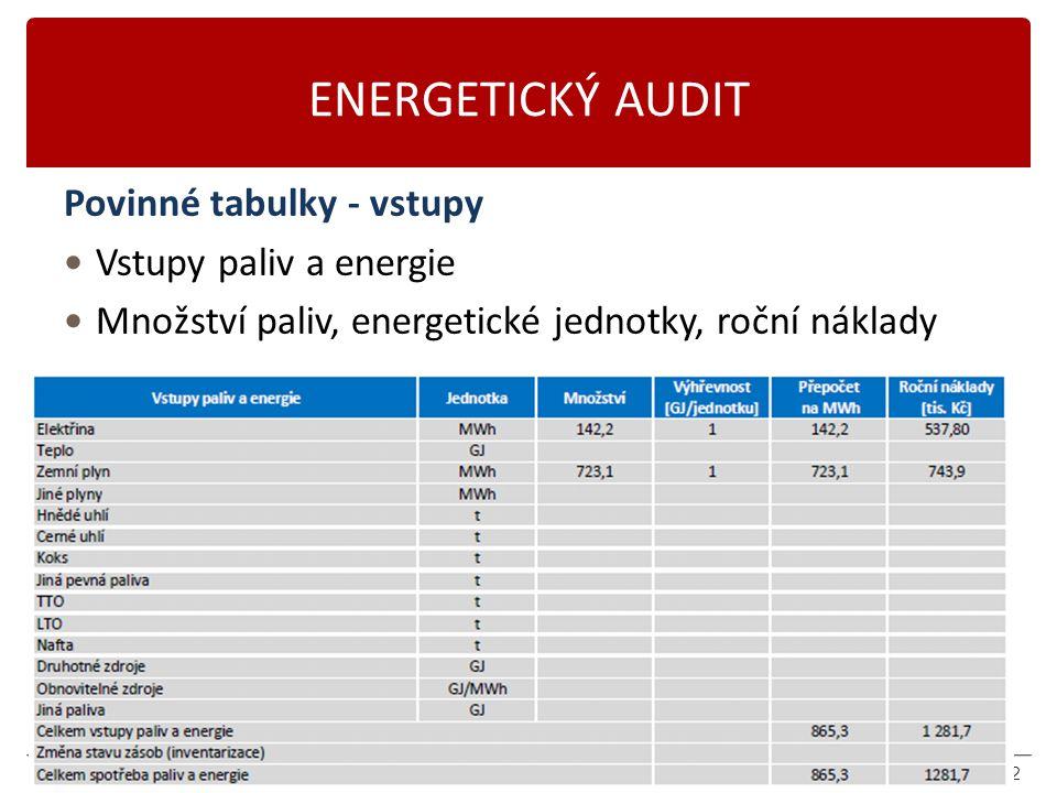 Karásek 2014 ENERGETICKÝ AUDIT Povinné tabulky - vstupy Vstupy paliv a energie Množství paliv, energetické jednotky, roční náklady 22